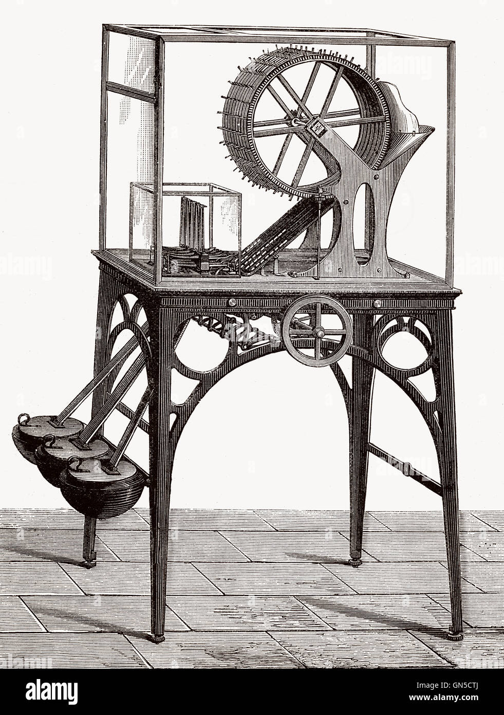 Coin sorter by Armand Pierre Seguier, 1803-1876, a French lawyer and Inventor - Stock Image