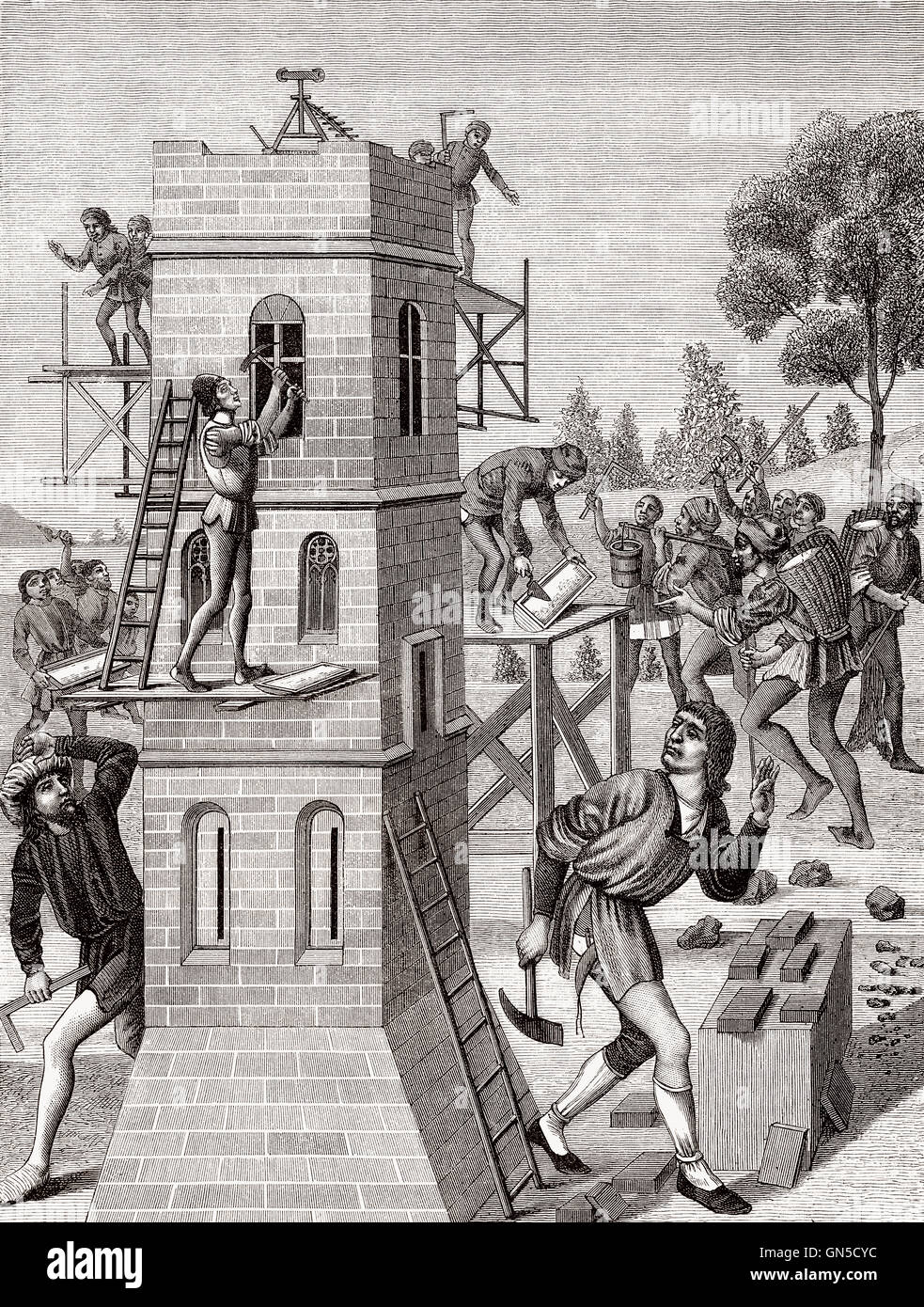 Bricklayer in the 15th century - Stock Image