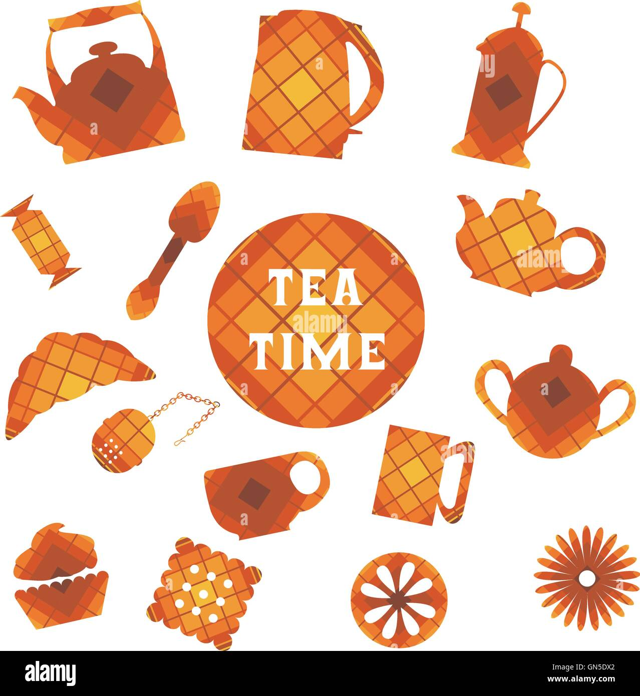 Set of 16 icons. Tea time. In square - Stock Image