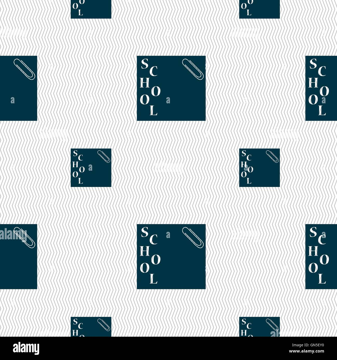 reminder sticker, note icon sign. Seamless pattern with geometric texture. Vector - Stock Image