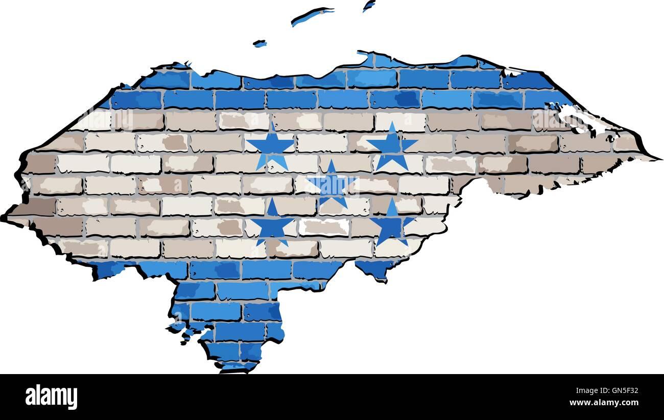 Honduras map on a brick wall Stock Vector
