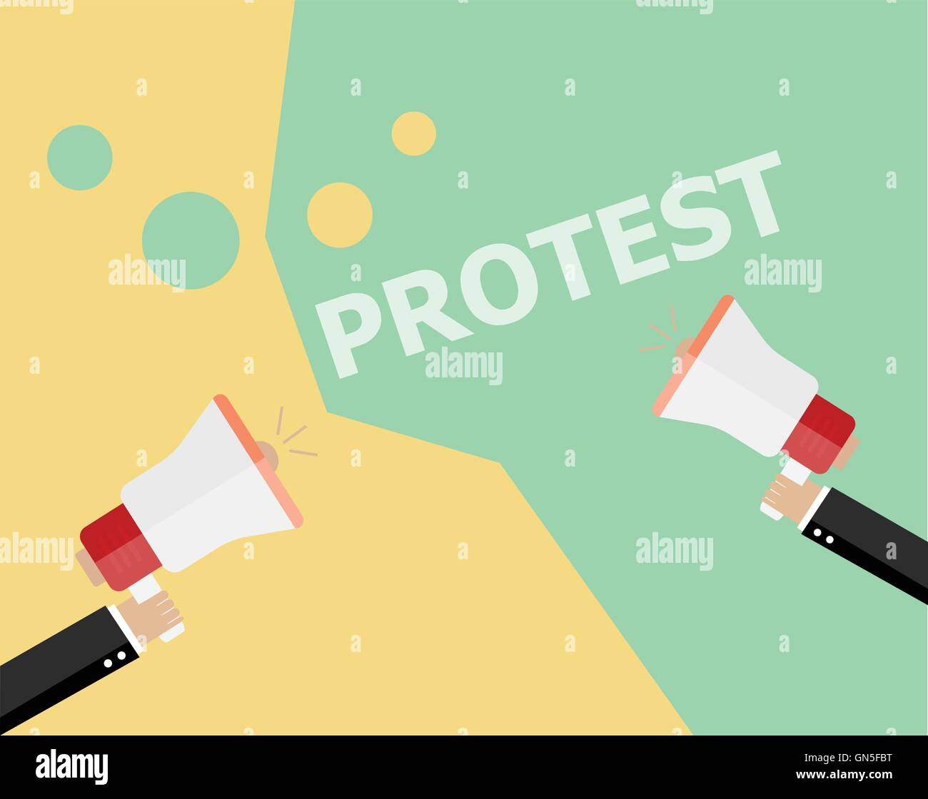 Hands holding protest signs and bullhorn, crowd of people protesters background, political, politic crisis poster, Stock Vector