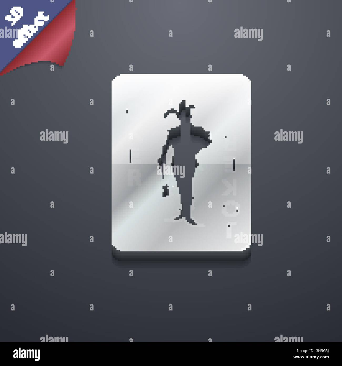 Single playing cards, Joker icon symbol  3D style  Trendy
