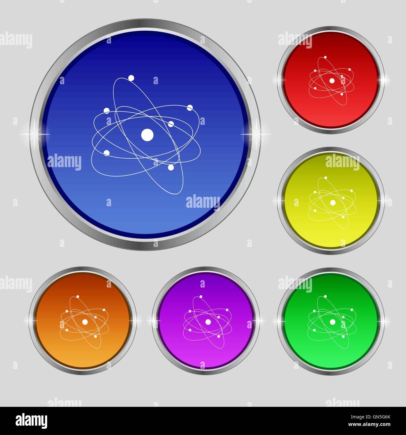Physics Atom Big Bang Icon Sign Round Symbol On Bright Colourful