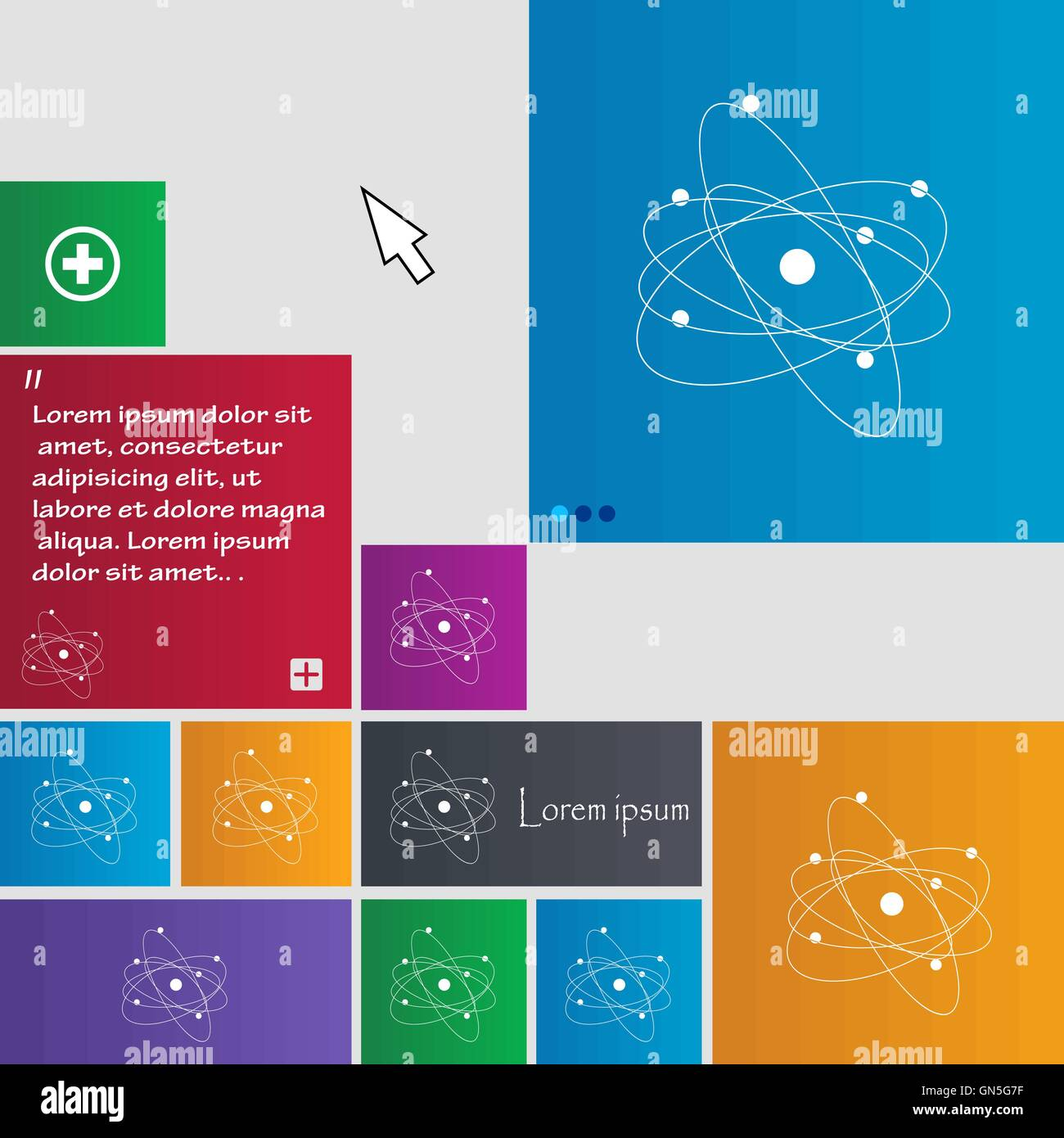 physics, atom, big bang icon sign  buttons  Modern interface