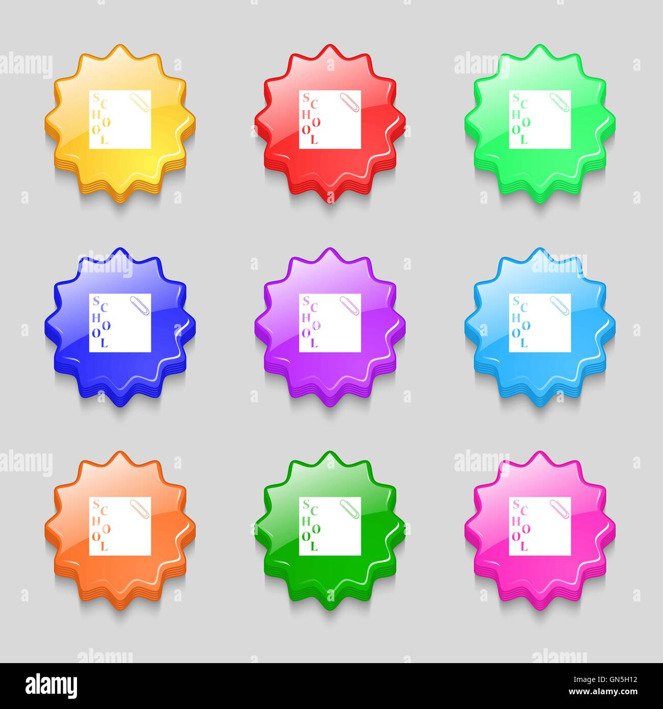 reminder sticker, note icon sign. symbol on nine wavy colourful buttons. Vector - Stock Image