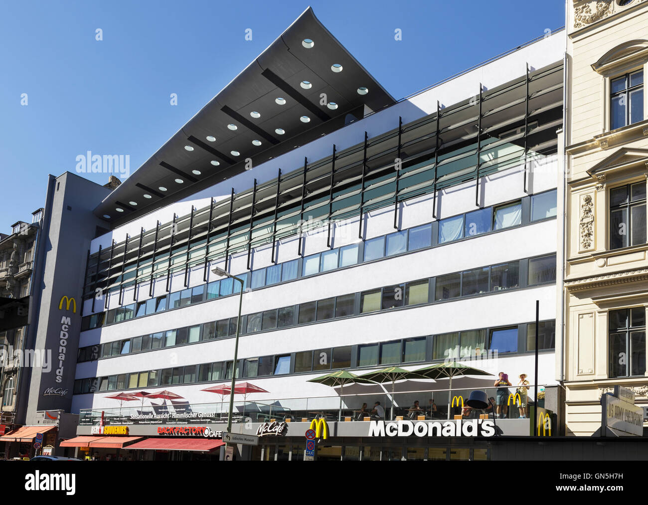 Friedrichstrasse, block designed by architects OMA / Rem Koolhaas for the IBA Internationale Bauausstellung 1987, - Stock Image