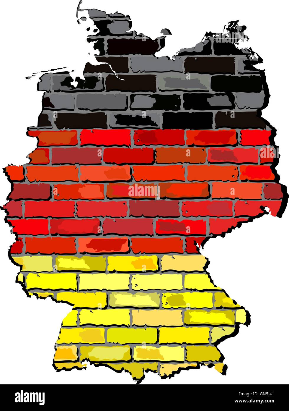 Germany map on a brick wall - Stock Vector