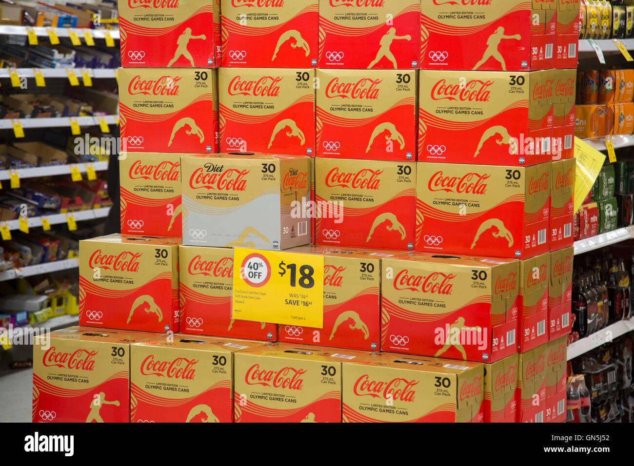 low priced e9121 e2e1c cases of Coca Cola soft drink in a Coles supermarket in Stock Photo ...