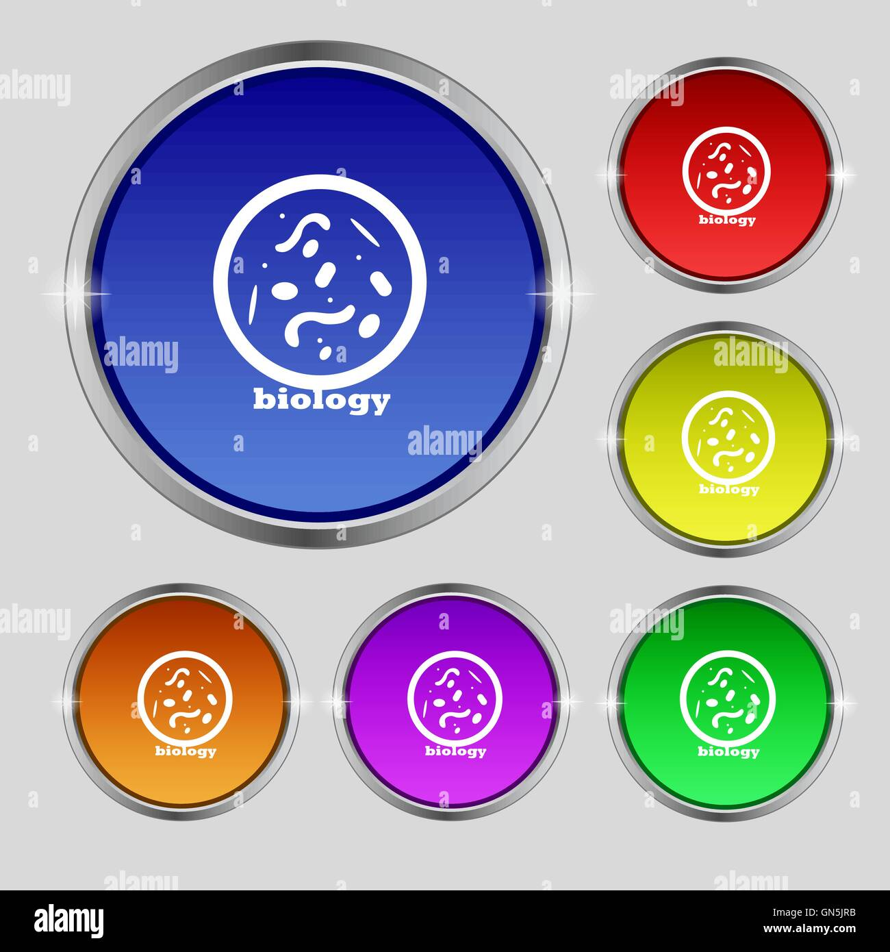 bacteria and virus disease, biology cell under microscope icon sign. Round symbol on bright colourful buttons. Vector - Stock Image