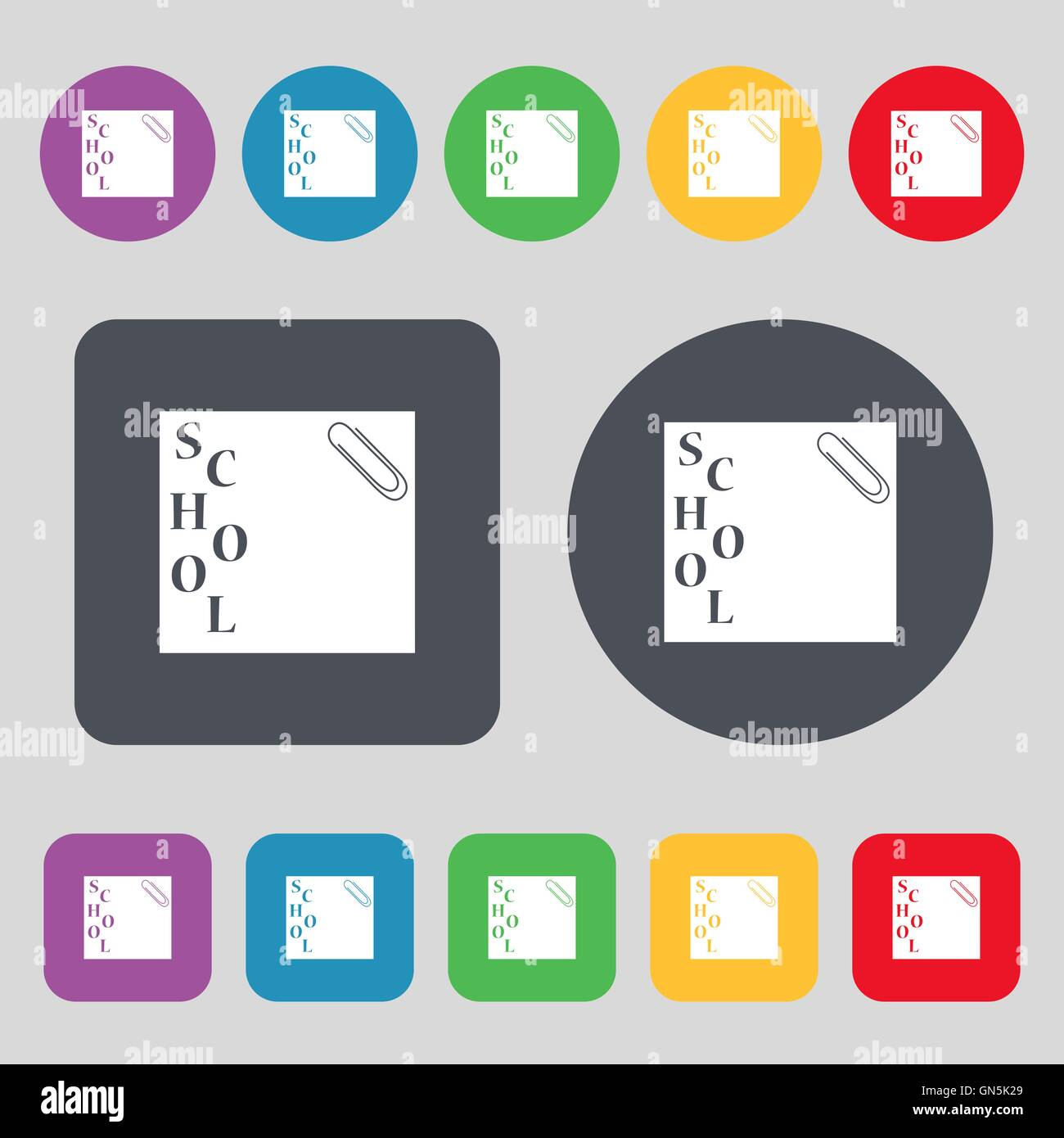 reminder sticker, note icon sign. A set of 12 colored buttons. Flat design. Vector - Stock Image