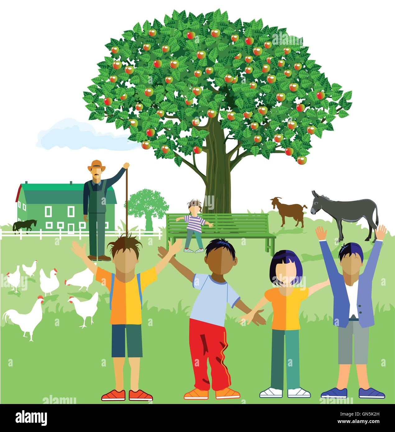 Kids on the Farm Stock Vector