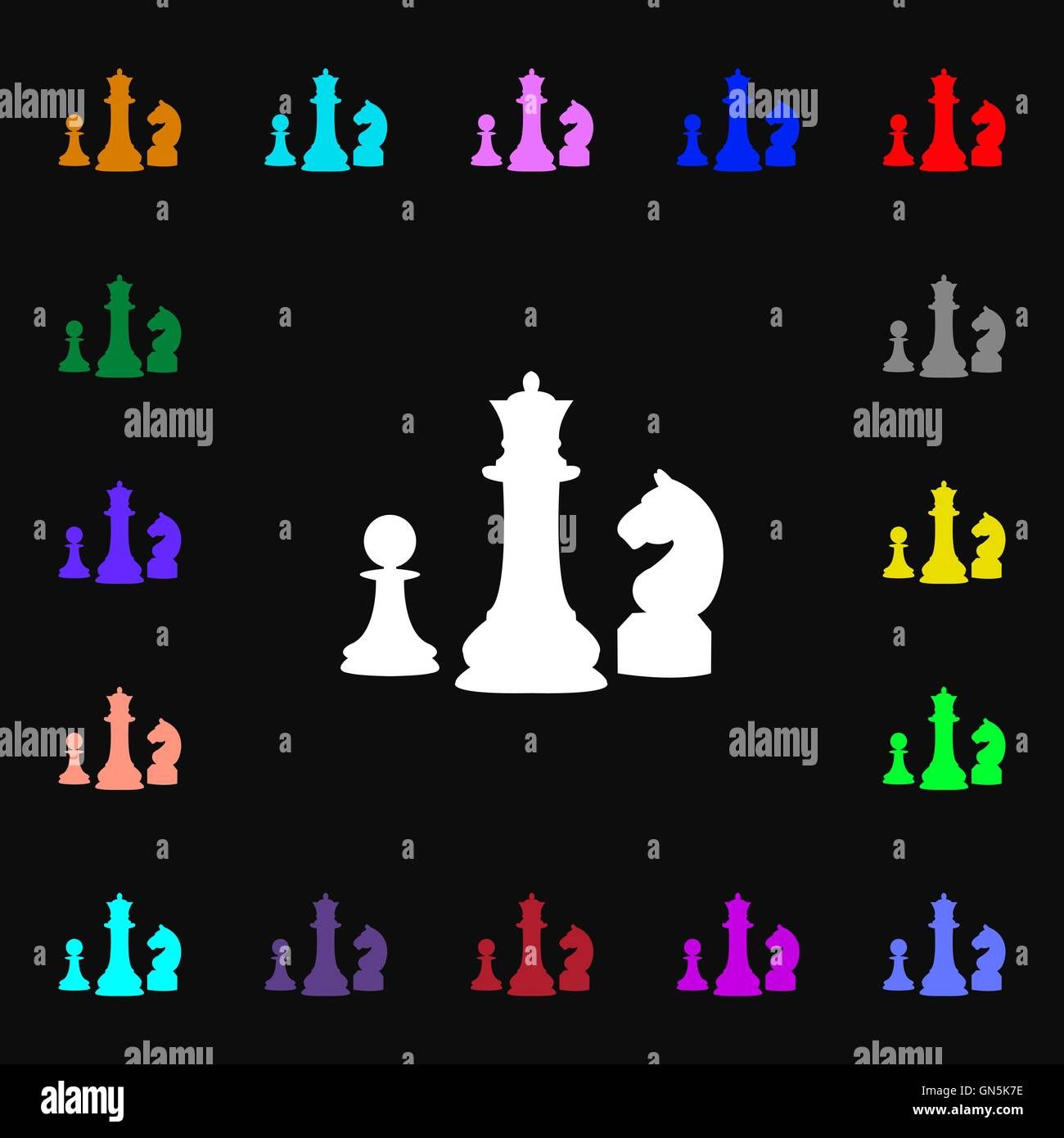 Chess Game Icon Sign Lots Of Colorful Symbols For Your Design Stock
