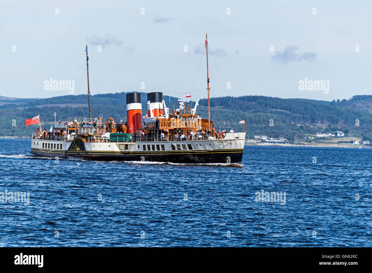 Paddle Steamer Waverley arriving at Tarbert pier Argyll and Bute Scotland after a cruise in Loch Fyne - Stock Image