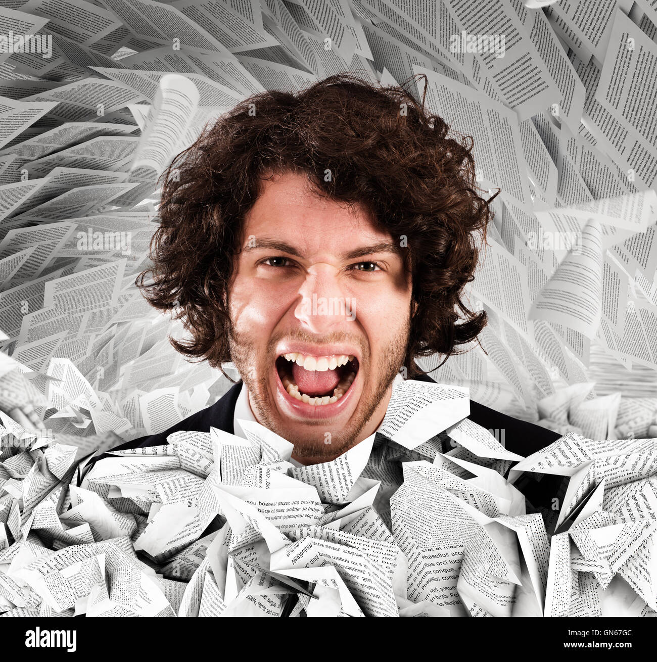 Screaming stressed from overwork - Stock Image