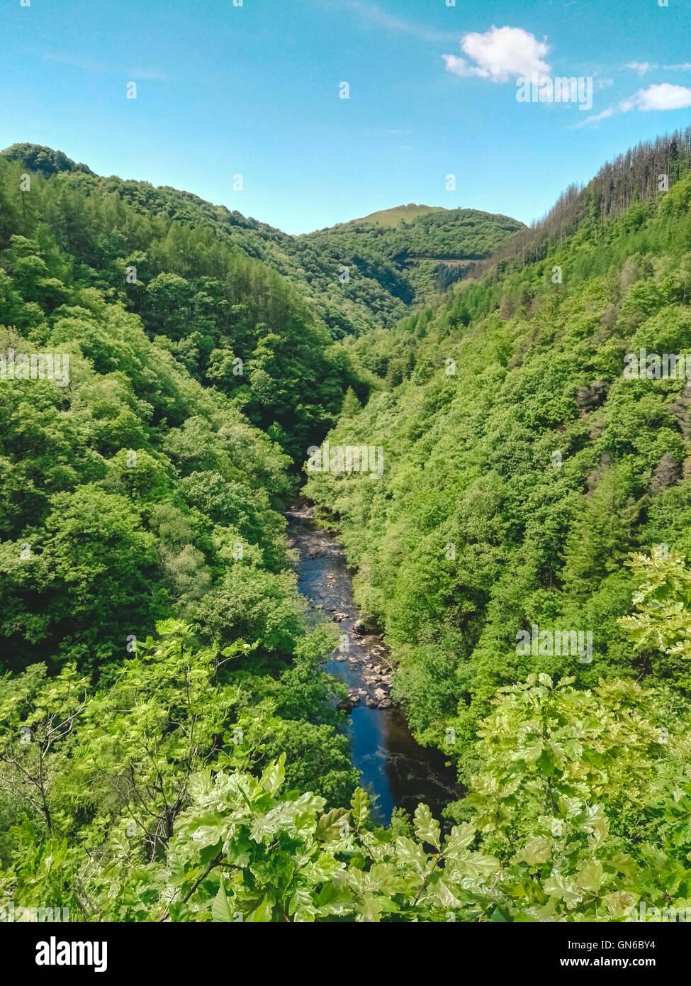 River in valley near Devil's Bridge in Wales - Stock Image