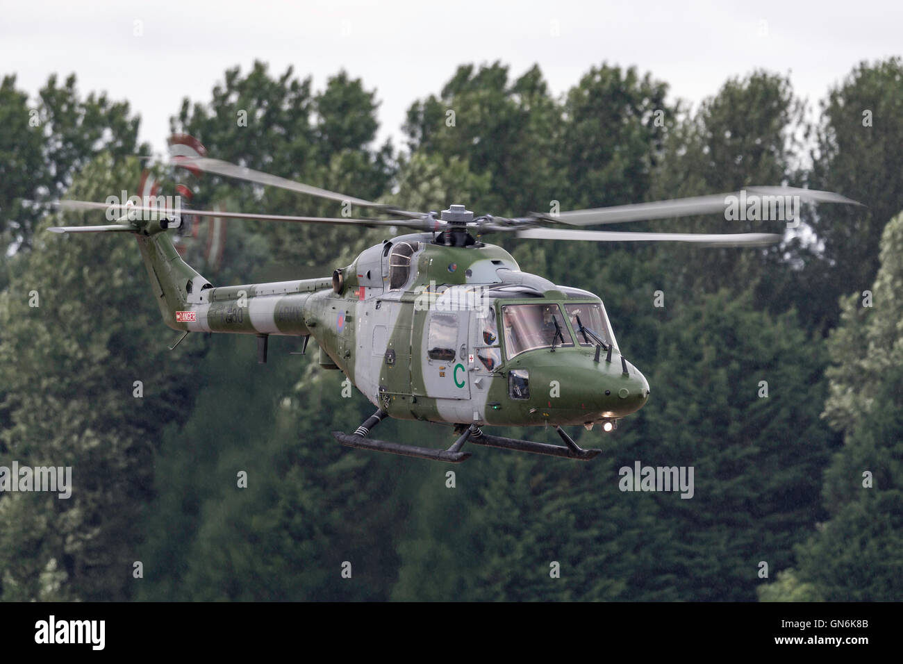British Army (Royal Army) Air Corps (AAC) Westland Lynx AH7 battlefield reconnaissance helicopter. - Stock Image