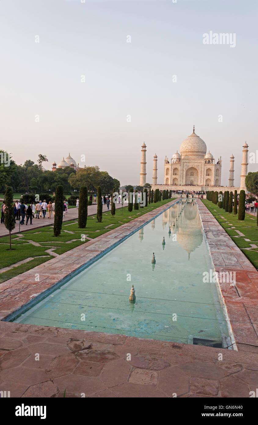 The Taj Mahal and ornamental pool in Agra, Uttar Pradesh, India - Stock Image