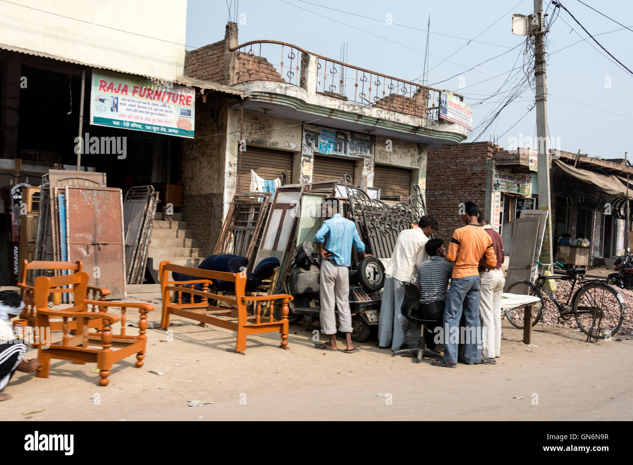 A furniture making shop beside a main street,Agra, Uttar Pradesh.India - Stock Image