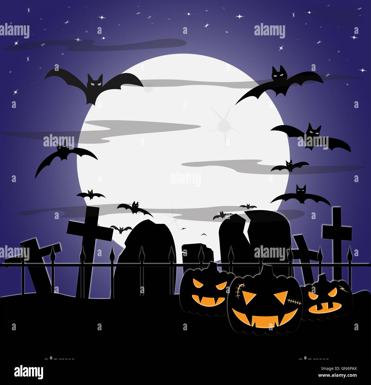 a cloudy halloween graveyard scene at night with bats and pumpkins
