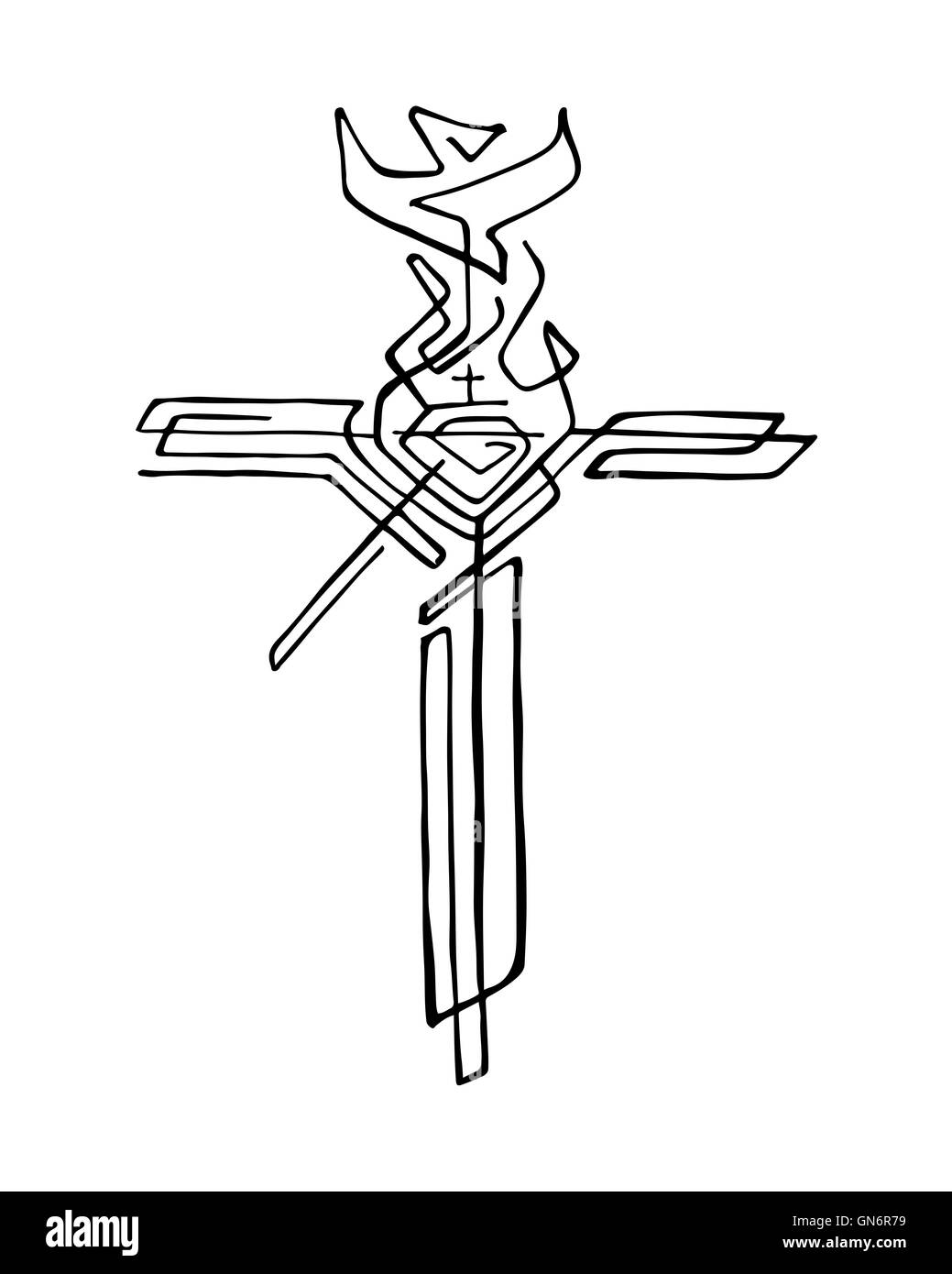 Hand Drawn Illustration Or Drawing Of A Religious Cross With Stock