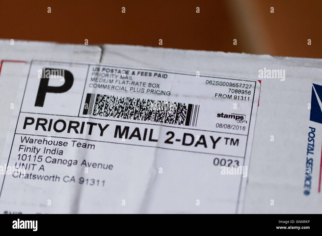 usps priority mail 2 day shipping label on package priority mail