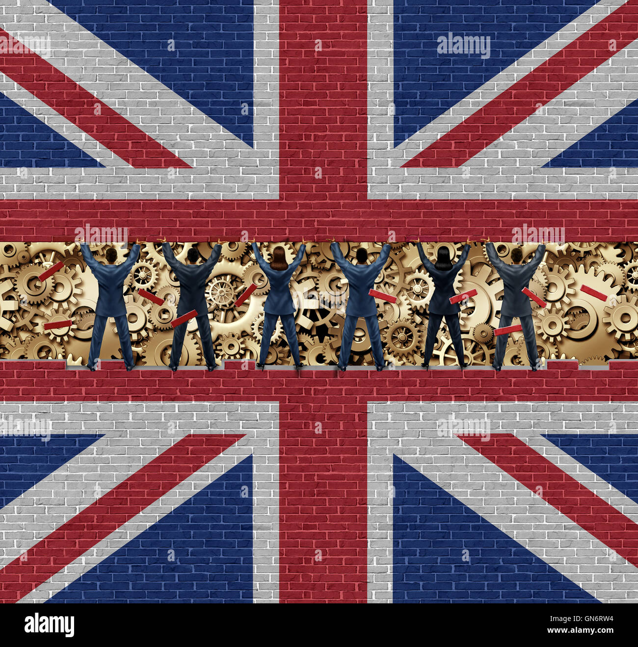 Inside Britain economy of British industry concept as a group of diverse men and women lifting up a brick wall exposing - Stock Image