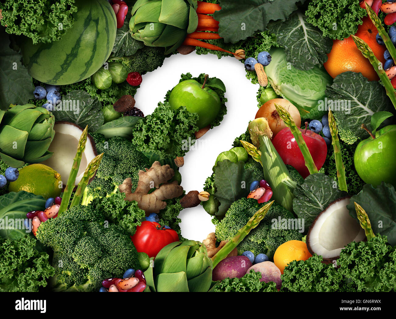 Healthy food questions as a concept for green diet as a
