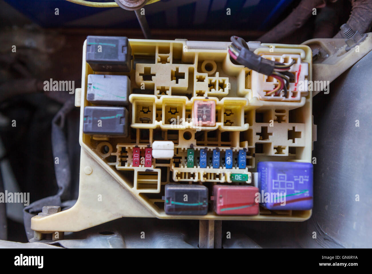 Old Fuses Fuse Box Stock Photos Images Car Jumper The Man Opening Of Image