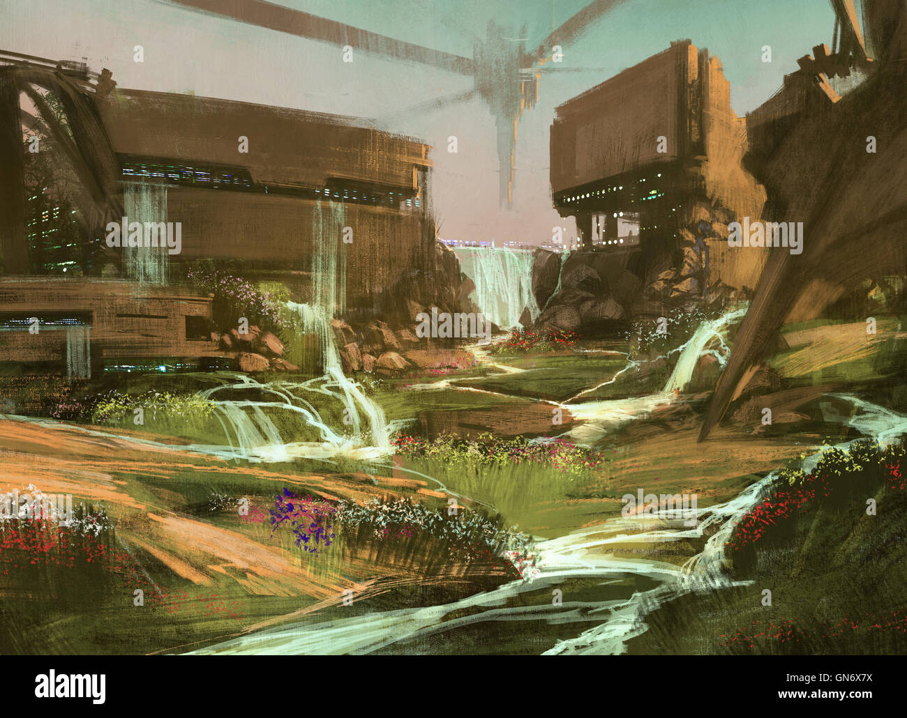 landscape with sci-fi buildings,illustration,digital painting - Stock Image