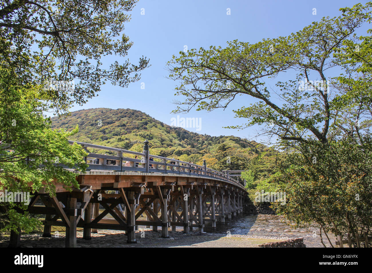 Uji Bridge of Ise Shrine, Ise, Japan - Stock Image