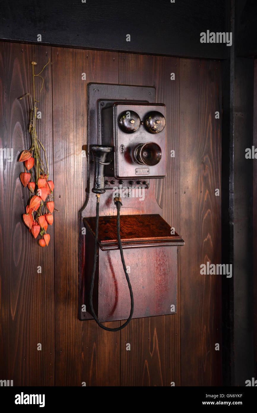 Antique Phone, Shirakawa, Japan - Stock Image