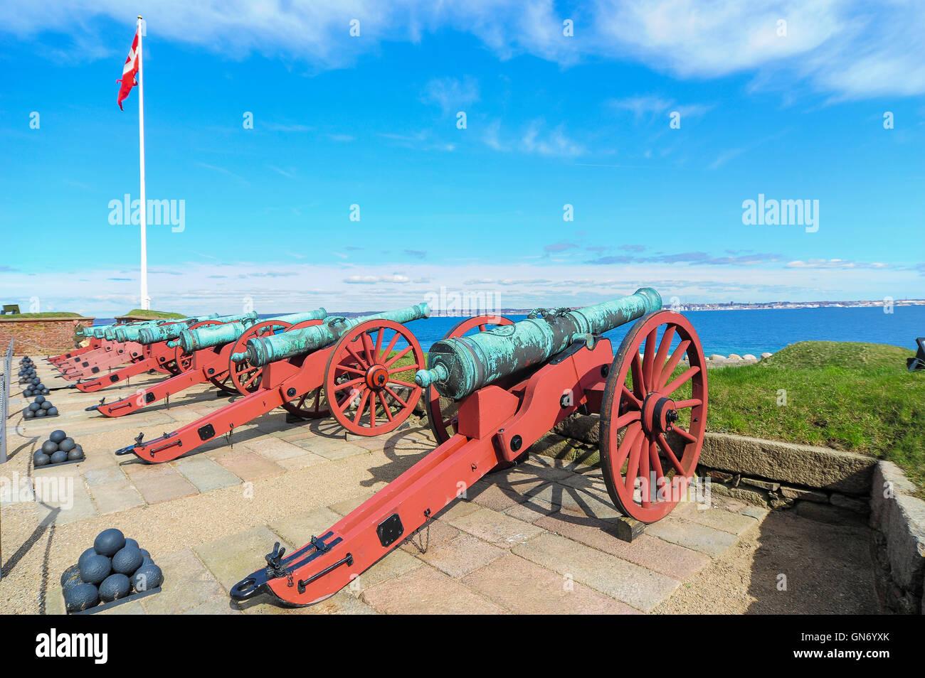 Cannon of Kronborg Castle, Helsingor, Denmark - Stock Image