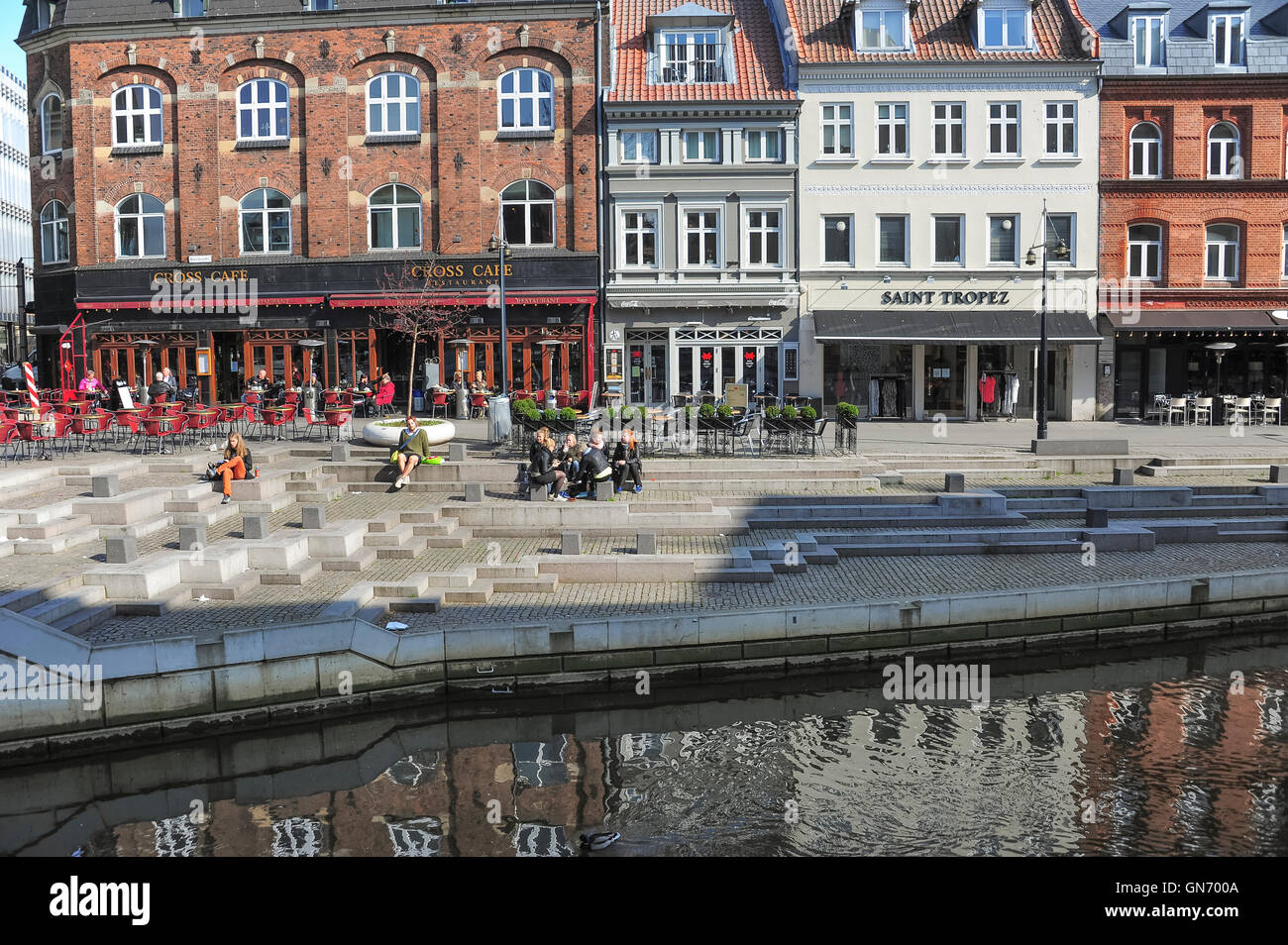 Square in City of Aarhus, Denmark - Stock Image