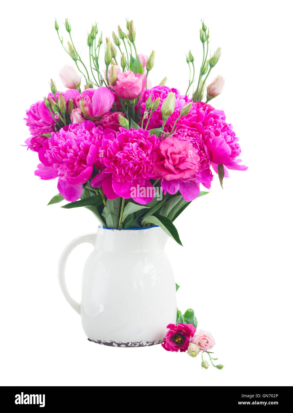 Bright pink peony and eustoma flowers - Stock Image