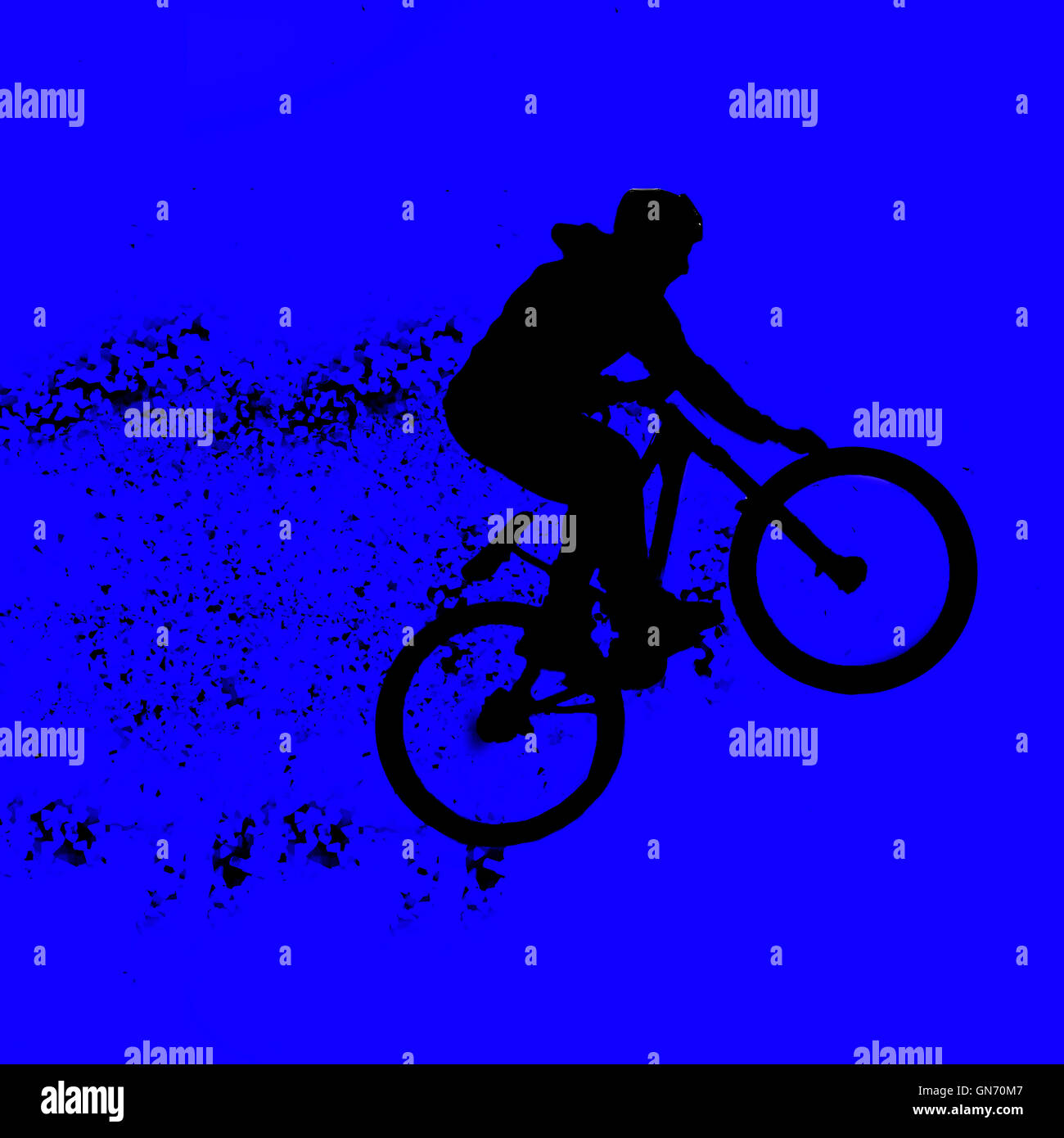 Digitally enhanced image of a bicycle stunt - Stock Image