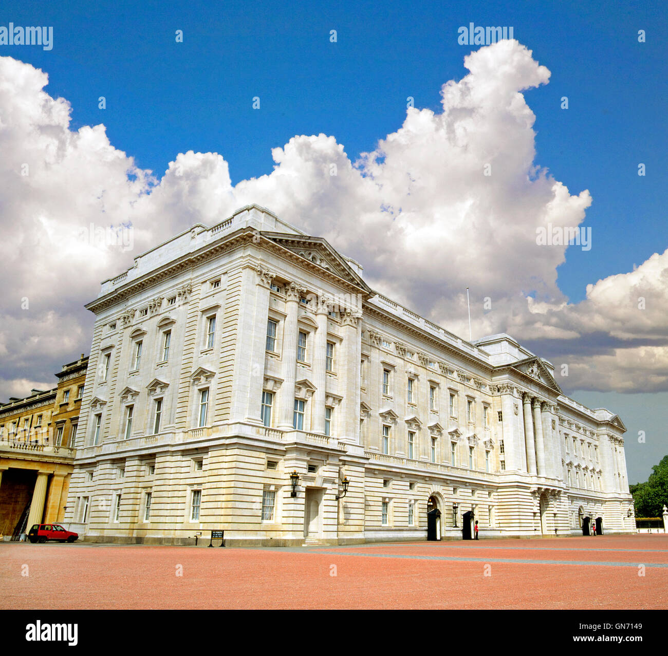 A front view of Buckingham Palace, home of the Royal Family and Queen of England, Queen Elizabeth II, in London, - Stock Image