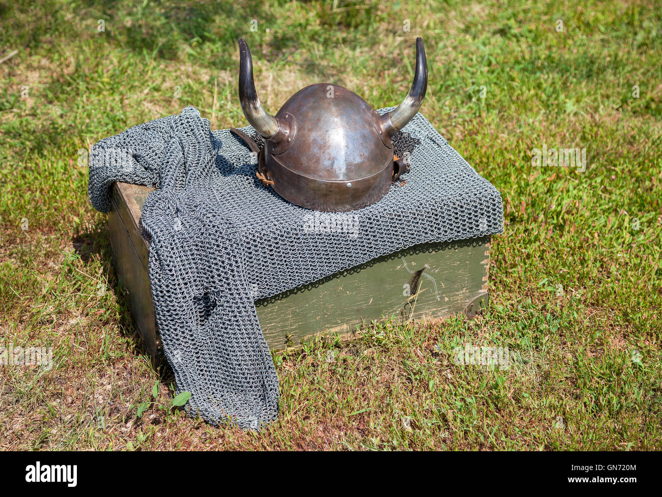 Medieval knight armor with helmet and chain mail - Stock Image