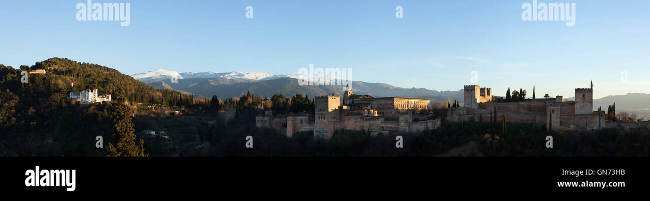 Panorama of the Alhambra Palace in Granada, Andalusia, Spain, pictured from the Mirador de San Nicolas in El Albayzin Stock Photo