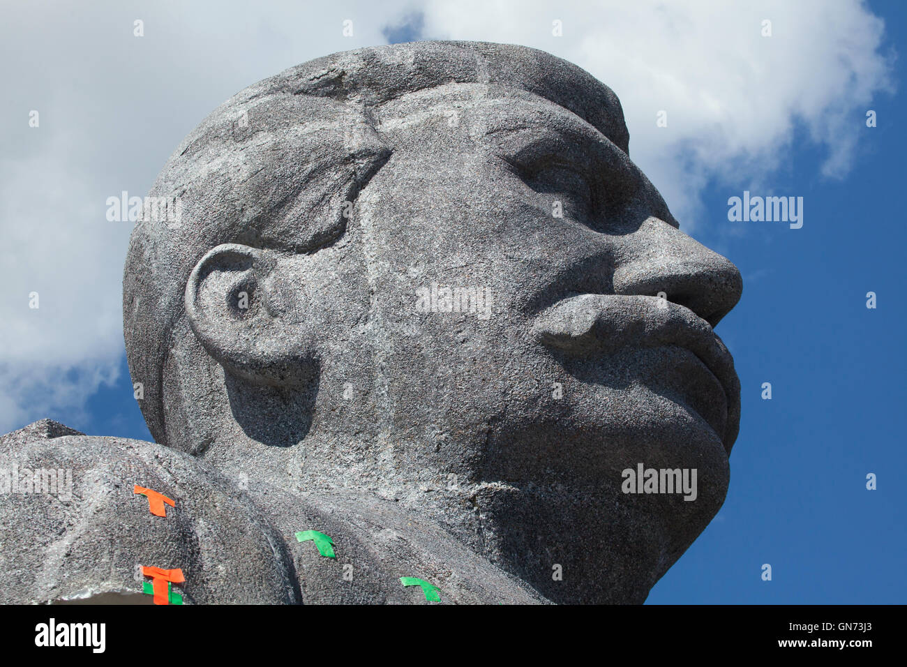 Huge head of Soviet dictator Joseph Stalin rising over Letna Park in Prague, Czech Republic, during the Czech Television Stock Photo