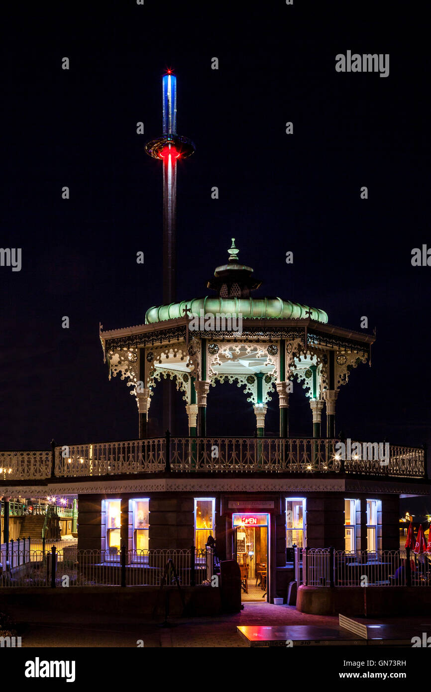 The Victorian Bandstand and The British Airways i360 Observation Tower, Brighton, Sussex, UK - Stock Image