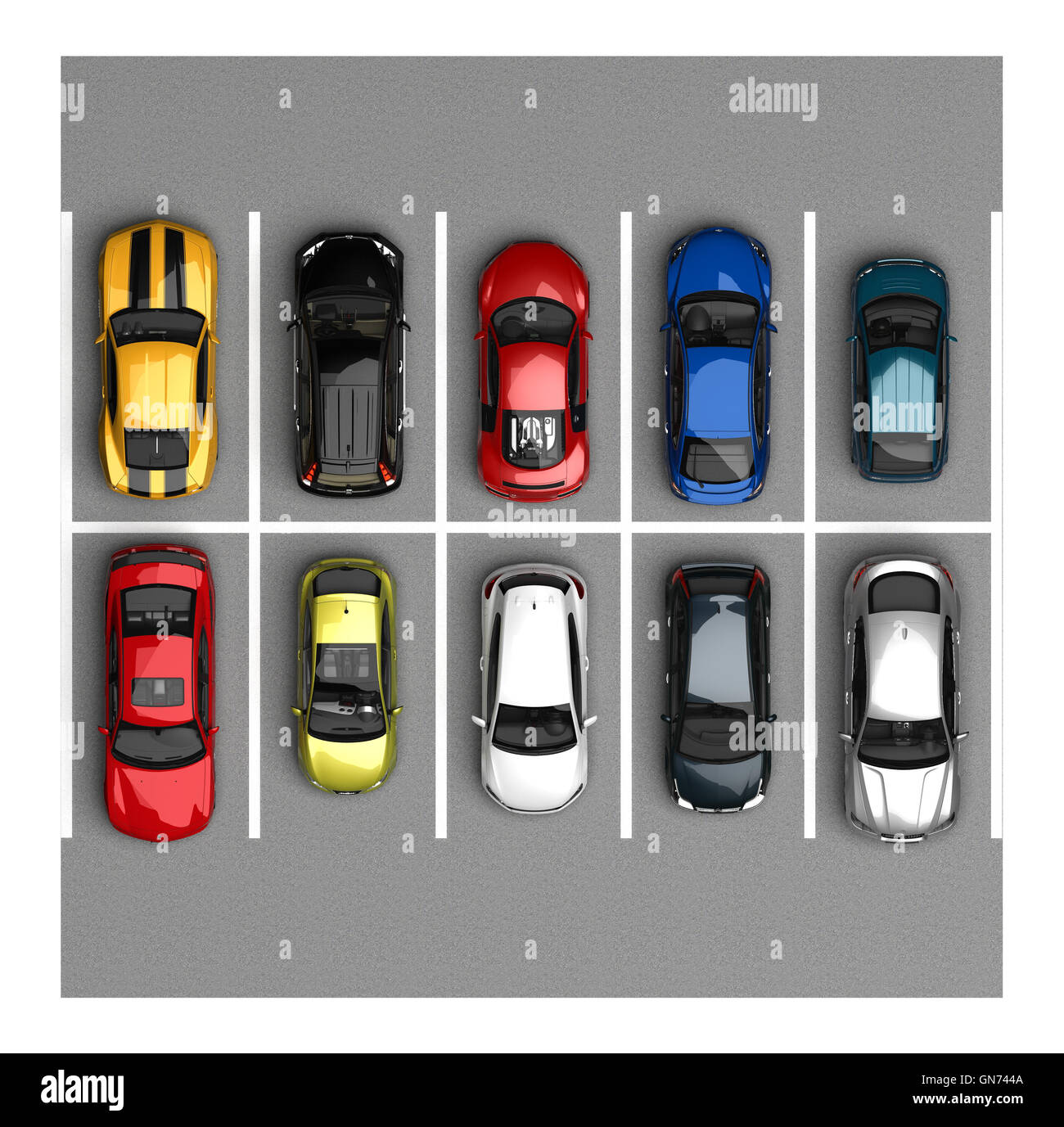 Cars Parking Cut Out Stock Images Pictures Alamy F430 Can Bus Diagram Part Top View Image