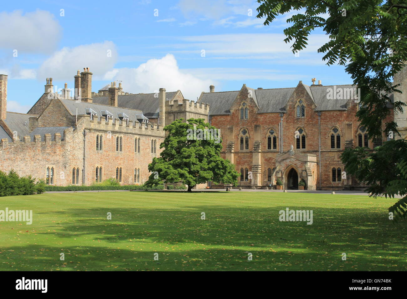 The Bishop's Palace and front lawn, Wells, Somerset, England, UK - Stock Image