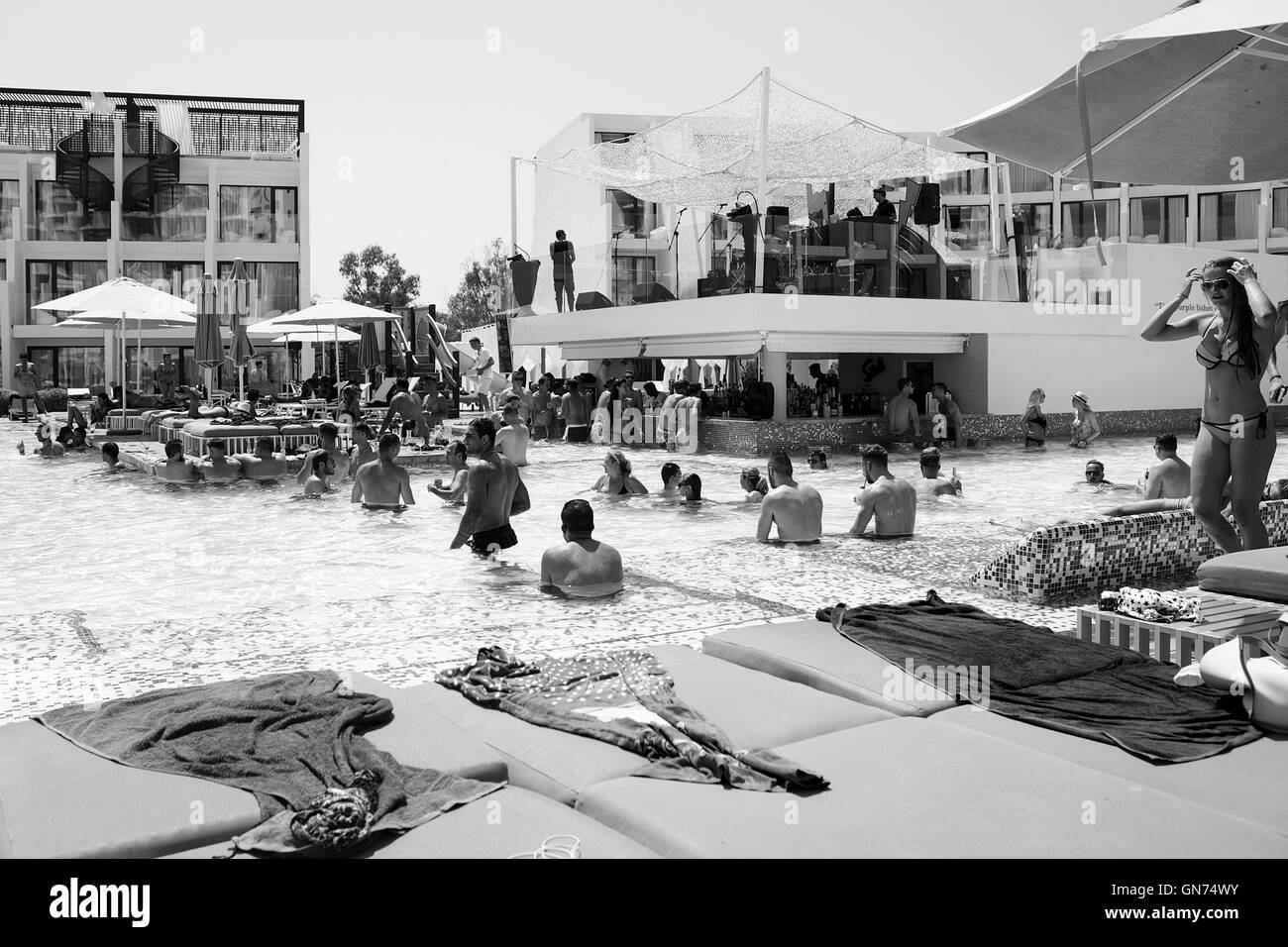Pool party and poolside at Hard Rock Hotel in Ibiza. High end resort for the younger generation who like to party - Stock Image