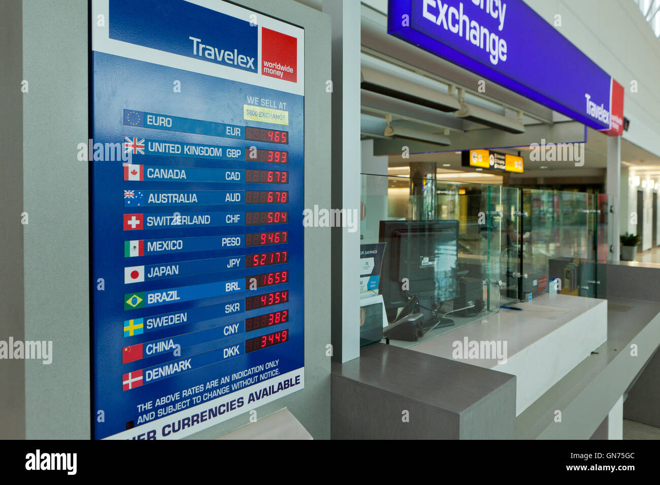 Currency exchange rate board - USA - Stock Image
