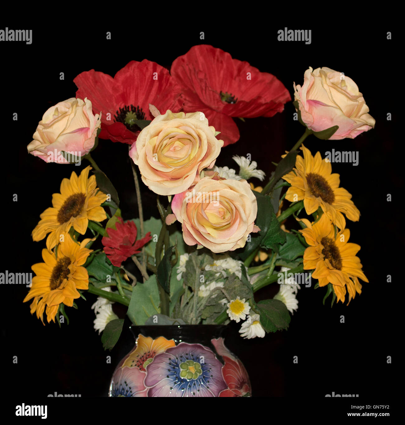 Arrangement Of Colourful Artificial Flowers Red Poppies Golden Stock Photo Alamy