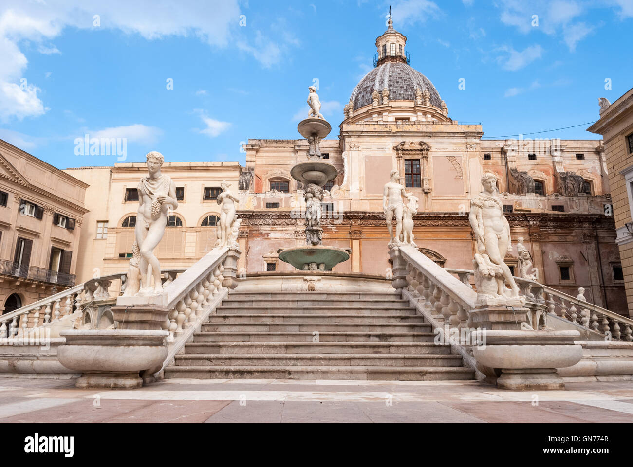 Stairs of the fountain in Piazza Pretoria, Palermo - Stock Image