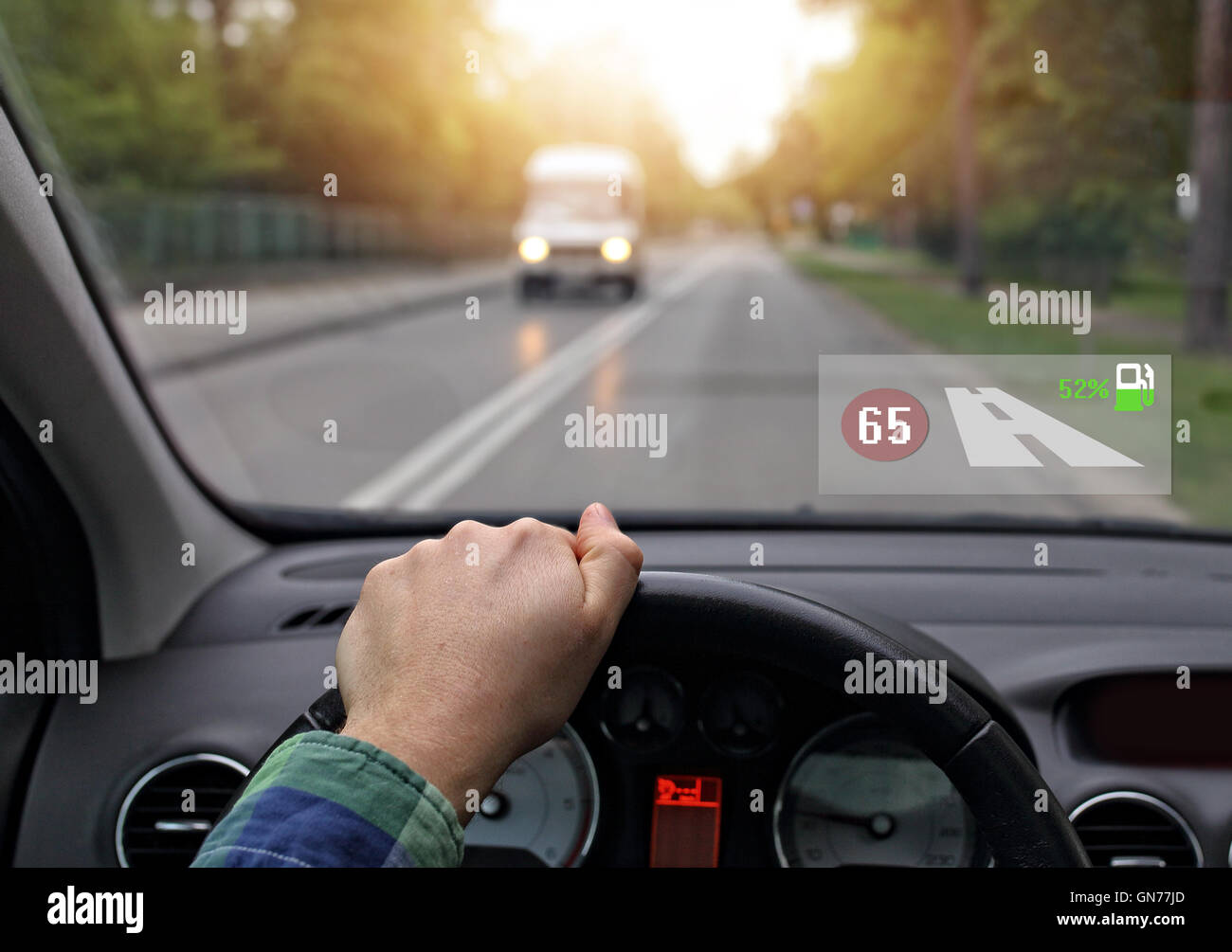 car equipped with head up system - Stock Image