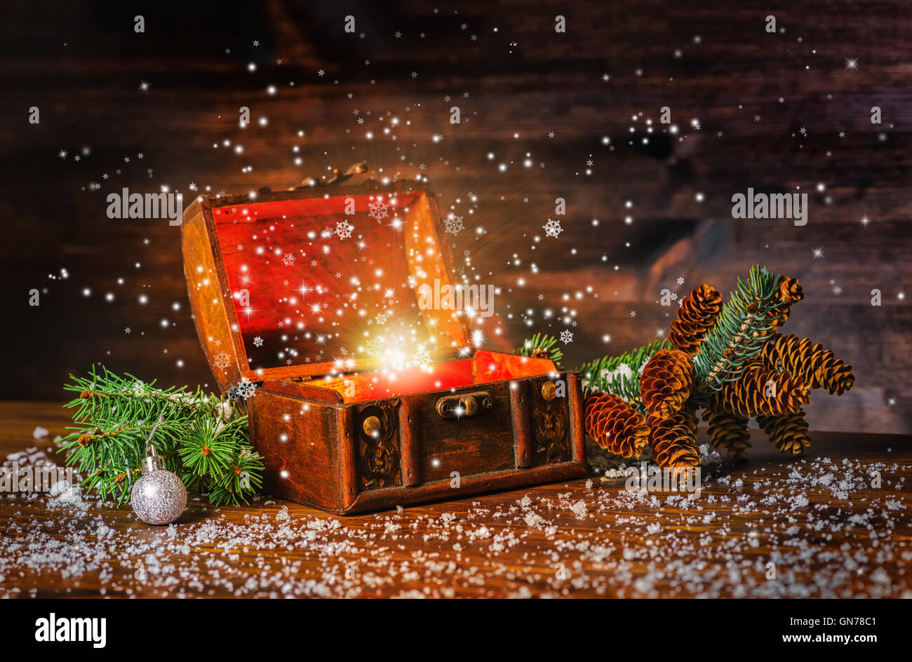 christmas winter fairy with fantasy miracle in opened chest treasure background of mystery gift new year fir tree and snow gr