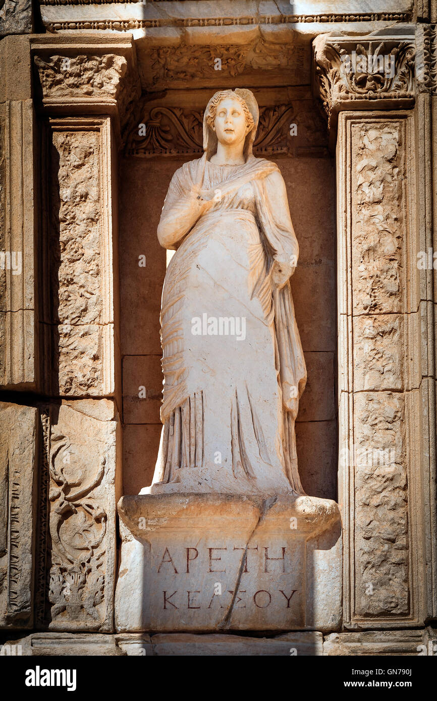 Moral virtue, statue of Arete (Apeth) in Library of Celsus in Efes - Stock Image
